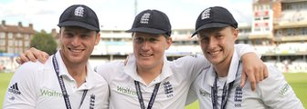 England's Jos Buttler, Gary Ballance and Joe Root