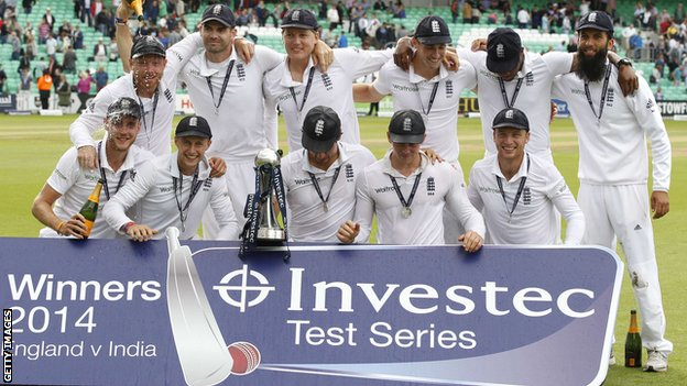 England celebrate after winning the Test series