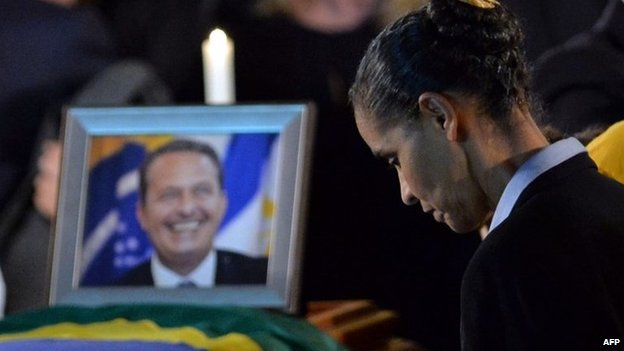Marina Silva by Mr Campos's coffin