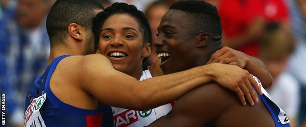 Adam Gemili, Ashleigh Nelson and Harry Aikines-Aryeetey