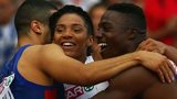 Harry Aikines-Aryeetey and Adam Gemili celebrate with Ashleigh Nelson