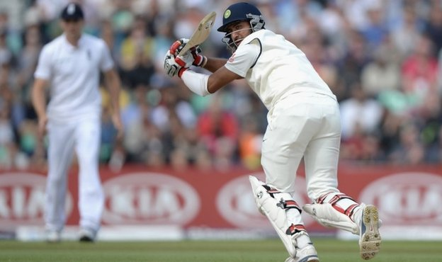 Cheteshwar Pujara of India bats during day three of 5th Investec Test match between England and India at The Kia Oval on August 17, 2014 in London, England