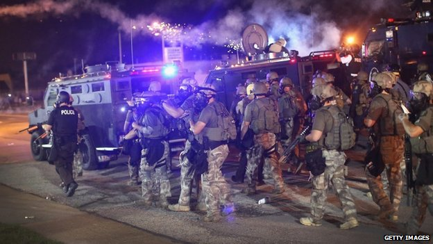 Police on streets of Ferguson (17 August 2014)