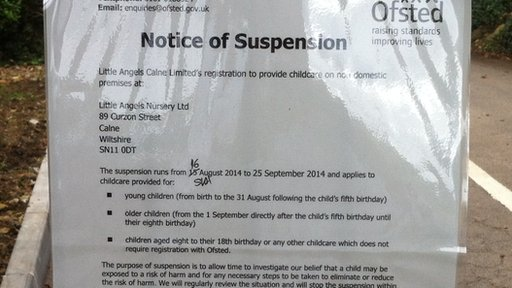 Ofsted notice on the nursery gate