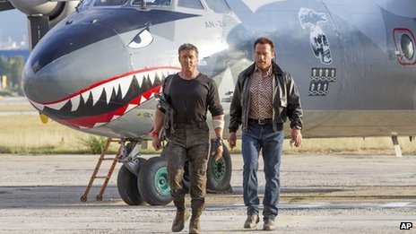 Sylvester Stallone and Arnold Schwarzenegger in The Expendables 3