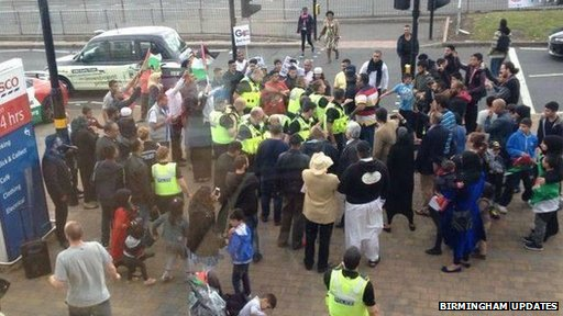 West Midlands Police said about 100 people attended the demonstration at Tesco in Hodge Hill on Saturday.