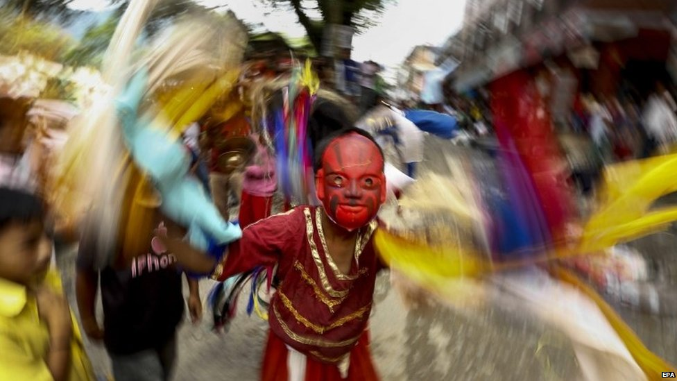 Janmashtami festival in the Narayanthan village, on the outskirt of Kathmandu, Nepal, 17 August 2014