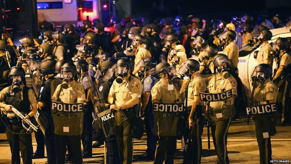 Police in riot gear in Missouri