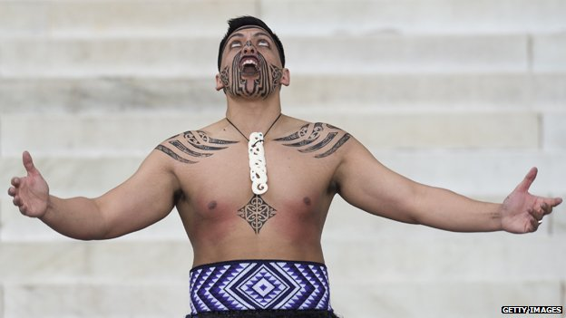 Maori dancer in ceremony