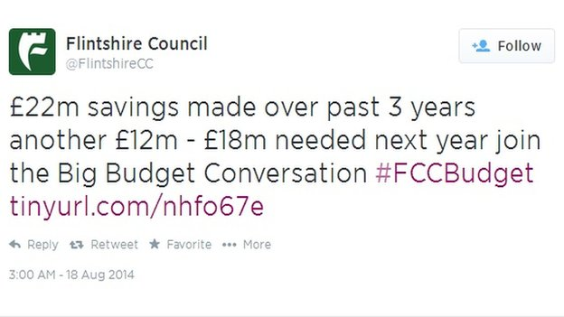 Flintshire council Twitter page