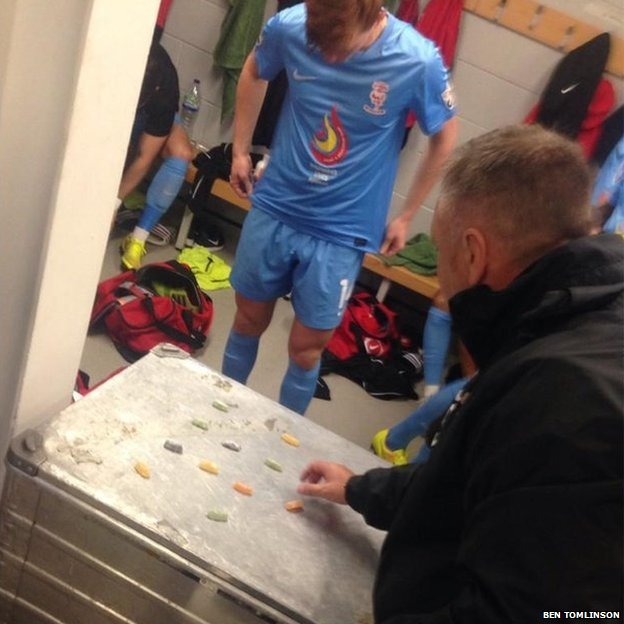 Gary Simpson using jelly babies to show tactics