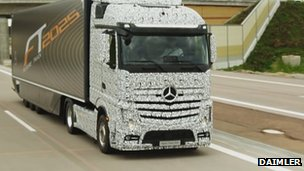 Mercedes-Benz lorry on the road