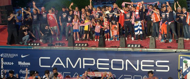 Atletico Madrid players celebrate league title
