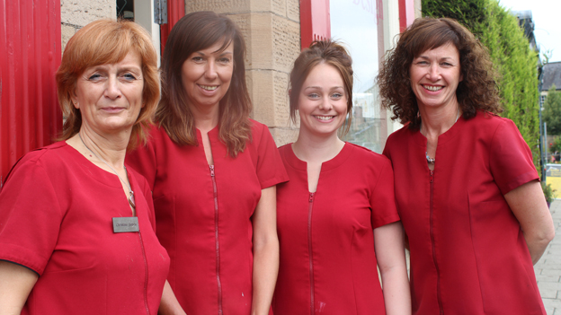 Intrim hairdressers owner Christine James (left)  and her employees