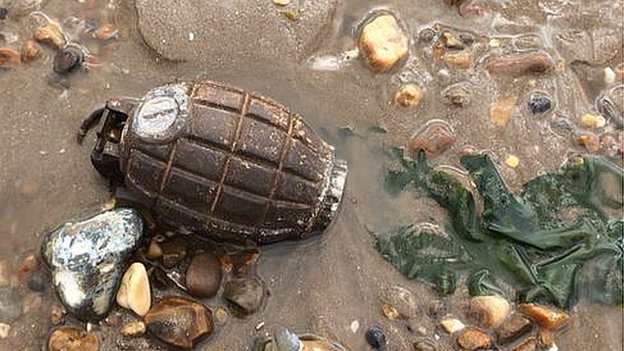 Grenade found on Dovercourt beach by Clair Watson