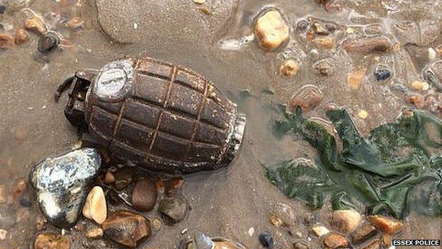 Grenade found on Dovercourt beach by Clair Watson