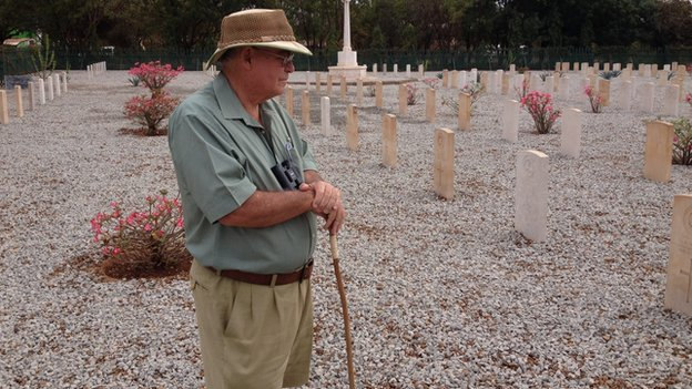 James Wilson, author of Guerilla's of Tsavo, at cemetery in Kenya (August 2014)