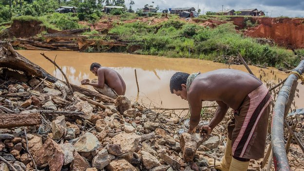 Miners at Sifontes, Venezuela