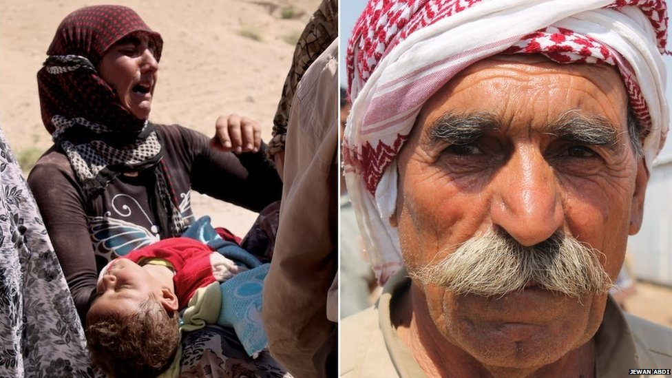 Left: A refugee, one of two sisters found with their families by Kurdish forces in the mountains, holds a child, 15 August 2014. Right: Farman Jendi, a 65-year-old refugee on 15 August 2014