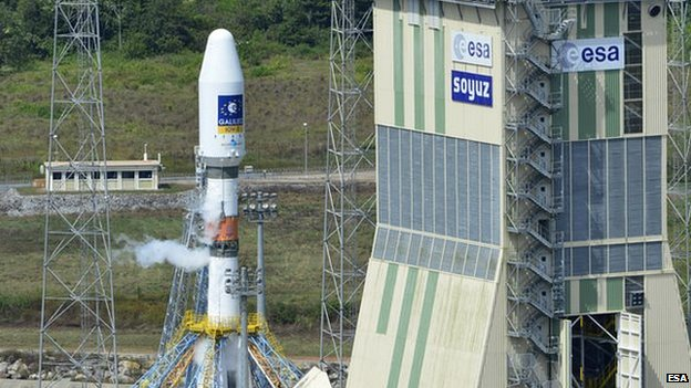 A Soyuz rocket carrying two Galileo satellites and a mobile gantry at Europe's spaceport in French Guiana