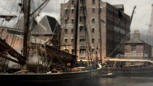 Gloucester Docks as a film set