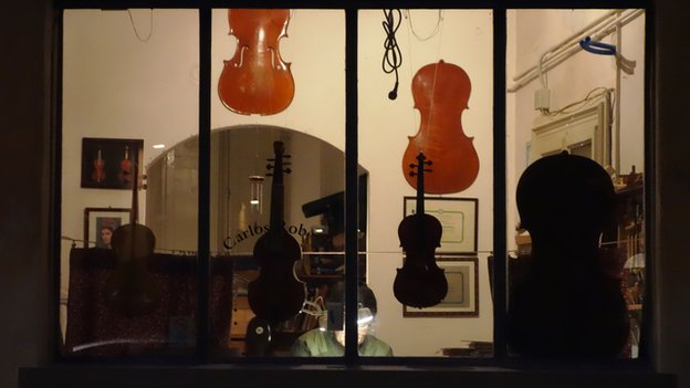 Violins in the window of a shop in Cremona