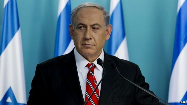 Israeli Prime Minister Benjamin Netanyahu at a press conference in Jerusalem - 6 August 2014