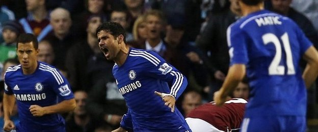 Diego Costa celebrates scoring on Chelsea debut