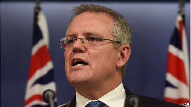 Australian Immigration Minister Scott Morrison at a press conference in Sydney in July 2014.