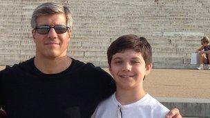 Edward Damiano with his son David