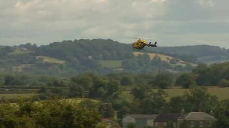 Air ambulance near the scene on the M5
