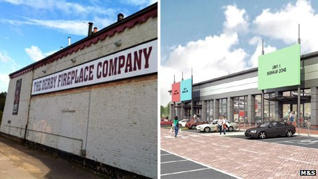 Derby Fireplace Company and artist impression of new M&S store