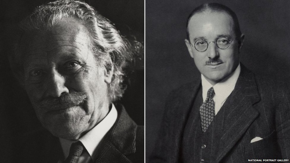 Sir Mortimer Wheeler by Godfrey Argent (L) and Robin George Collingwood by Walter Stoneman (R)