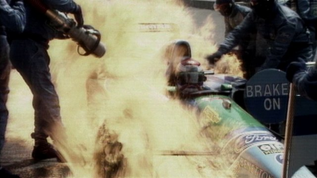 Jos Verstappen's Benetton catches fire at the 1994 German Grand Prix