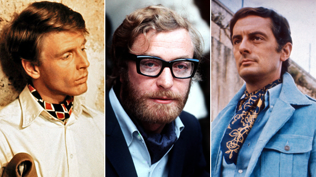 Edward Fox, Michael Caine, Francie Matthews - all wearing cravats