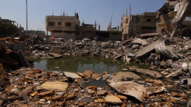 Sewage pool in Shejaiya