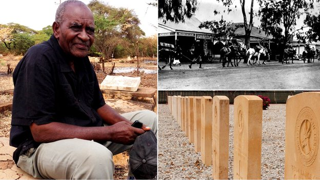 Split image of Othiniel Mnene who's grandfather was involved in WW1, gravestones and a historic image from Kenya