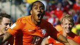 Leroy Fer celebrates scoring for the Netherlands at the World Cup