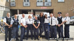 Officers with Russell Brand