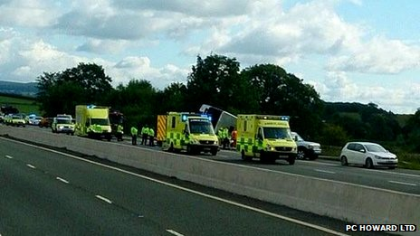 Crash on the M5 involving a coach from the West Midlands
