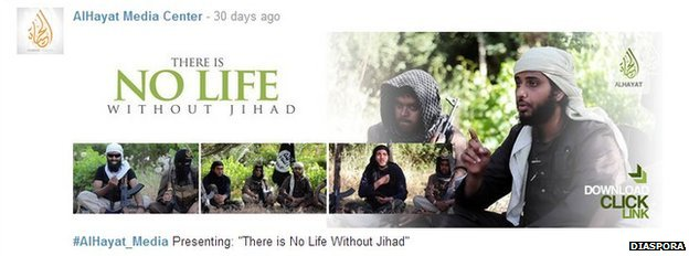 IS Diaspora account for Al-Hayat Media Center promoting high profile English-language video There is No Life Without Jihad