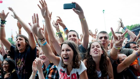 Fans at the 22nd Sziget Festival in Hungary