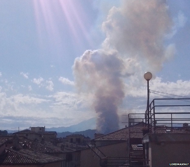 Smoke rising from crash site in Italy