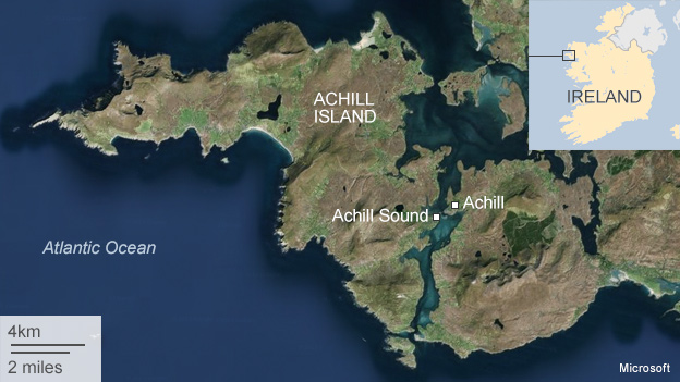 Map showing location of Achill Island