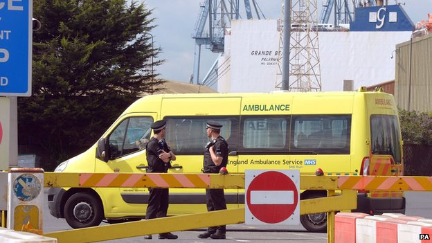 Ambulance outside Tilbury docks