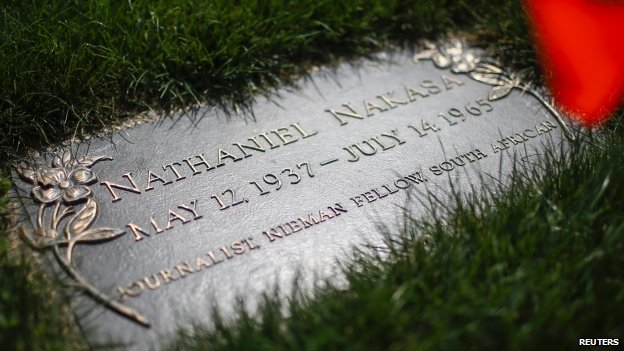 The headstone of writer and journalist Nathaniel Nakasa is seen at his grave at Ferncliff Cemetery in Hartsdale, New York, the US - 11 August 2014