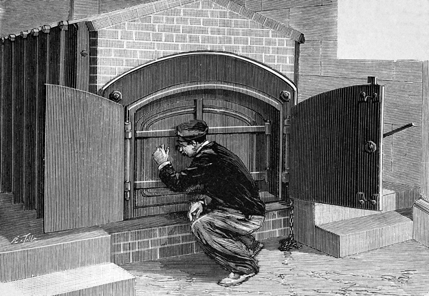 A 19th Century illustration of man outside a cremation chamber