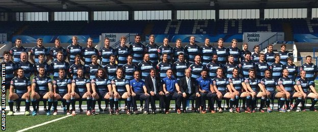 Adam Jones (bottom row, fifth from left) posing in the official Cardiff Blues 2014-15 squad picture