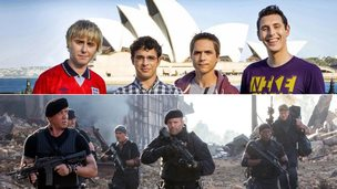 The stars of The Inbetweeners 2 (top) and The Expendables 3 (bottom)