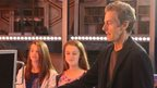Peter Capaldi meets children on the Tardis set